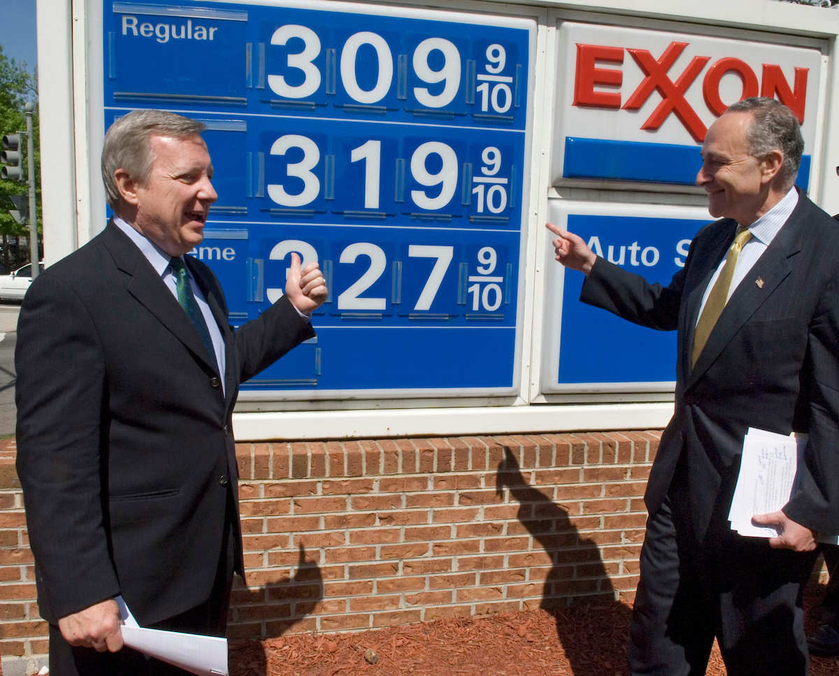 "04/26/06--Senate Assistant Minority Leader Richard J. Durbin, D-Ill., and Sen. Charles E. Schumer, D-N.Y., after a news conference at the Congressional Exxon near the U.S. Capitol, to ""demand gas price relief,"" according to a press release. The press release said that Republicans in Congress are ""refusing to act to ease the burden on the American people."" Congressional Quarterly Photo by Scott J. Ferrell"