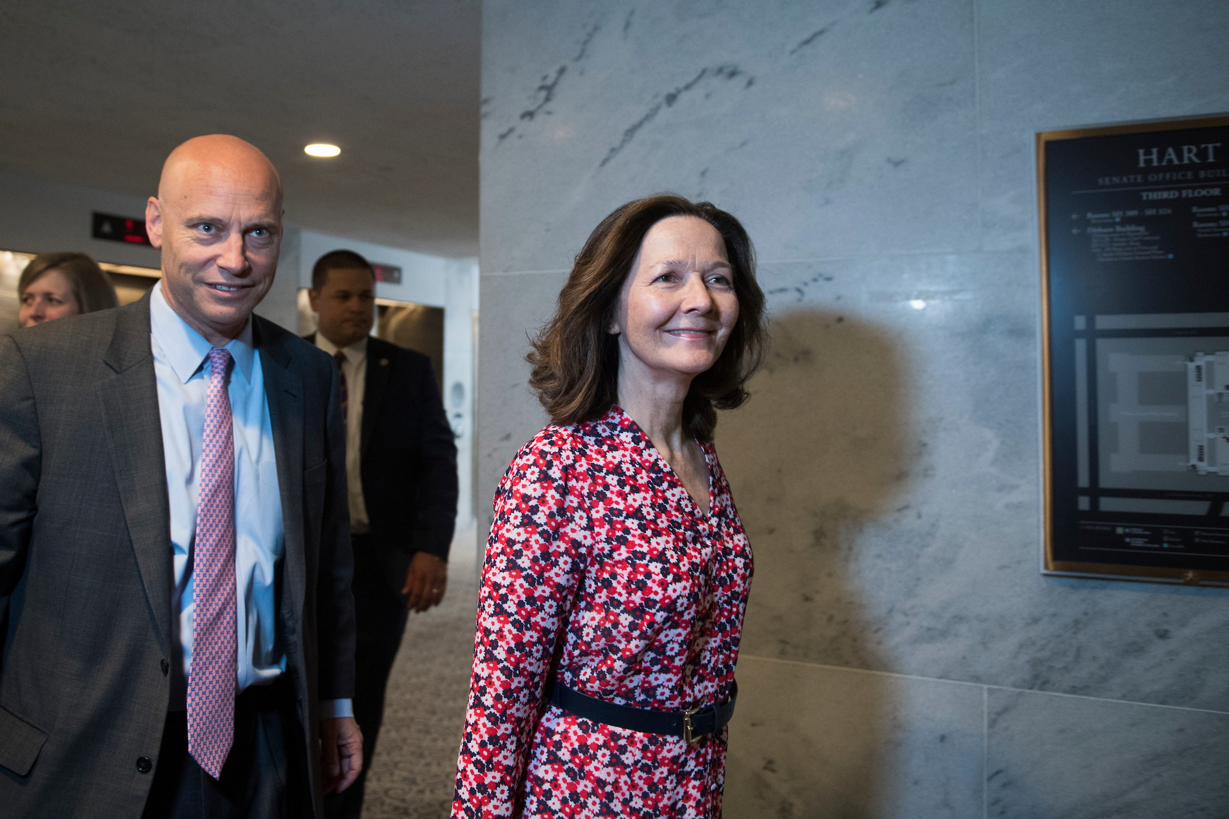 UNITED STATES - MAY 7: Gina Haspel, nominee to be director of the CIA, and Marc Short, White House legislative affairs director, arrive in Hart Building for meetings with Sen. Joe Manchin, D-W.Va., and other senators on May 7, 2018. (Photo By Tom Williams/CQ Roll Call)