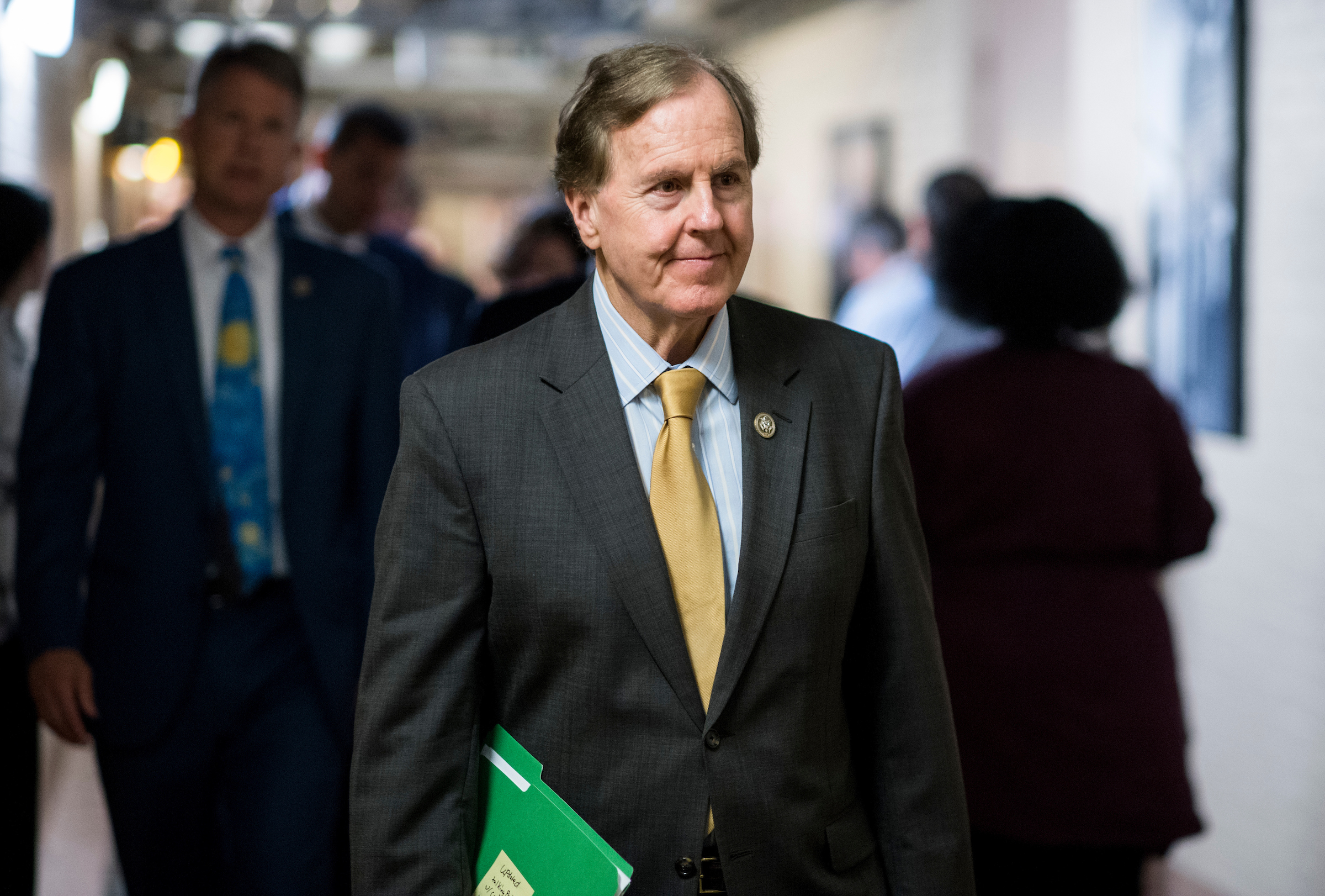 Rep. Robert Pittenger, R-N.C., leaves the House Republican Conference meeting in the basement of the Capitol on Tuesday, oct. 24, 2017. (Photo By Bill Clark/CQ Roll Call)