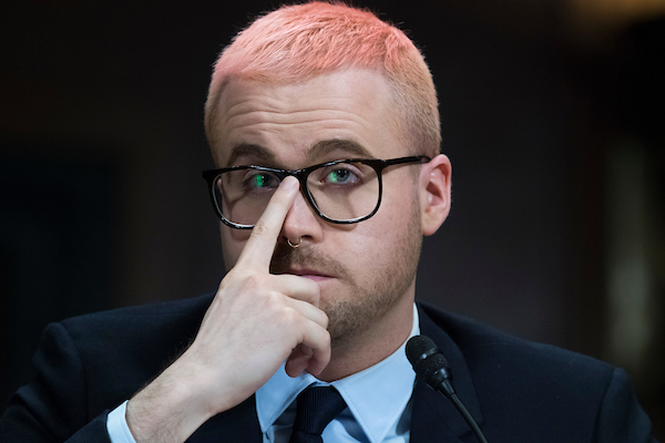 "UNITED STATES - MAY 16: Christopher Wylie, a former employee of Cambridge Analytica, testifies during a Senate Judiciary hearing in Dirksen Building titled ""Cambridge Analytica and the Future of Data Privacy,'"" on May 16, 2018. (Photo By Tom Williams/CQ Roll Call)"