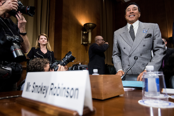 "UNITED STATES - MAY 15: Recording artist Smokey Robinson takes his seat at the witness table for the Senate Judiciary Committee hearing on ""Protecting and Promoting Music Creation for the 21st Century"" on Tuesday, May 15, 2018. (Photo By Bill Clark/CQ Roll Call)"