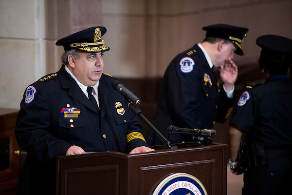 UNITED STATES - MAY 8: Chief Matthew Verderosa speaks during the United States Capitol Police annual memorial service on Tuesday, May 8, 2018, honoring the four USCP officers who have died in the line of duty. This year is the 20th anniversary of the deaths of Officer Jacob Chestnut and Detective John Gibson while protecting the U.S. Capitol from a gunman's attack on July 24, 1998. (Photo By Bill Clark/CQ Roll Call)