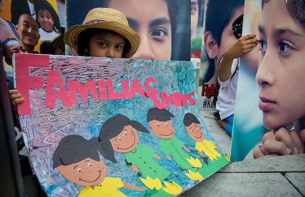 UNITED STATES – June 27: A young girl participates in a CASA in Action rally at Freedom Plaza in downtown Washington, D.C. organized to protest the Trump Administration zero tolerance policy that separates children from their families at the southern border Wednesday June 27, 2018. (Photo By Sarah Silbiger/CQ Roll Call)