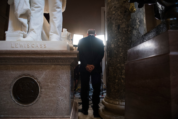 Rep. Louie Gohmert, R-Texas, conducts a television interview in the Capitol's Statuary Hall on June 6, 2018. (Tom Williams/CQ Roll Call