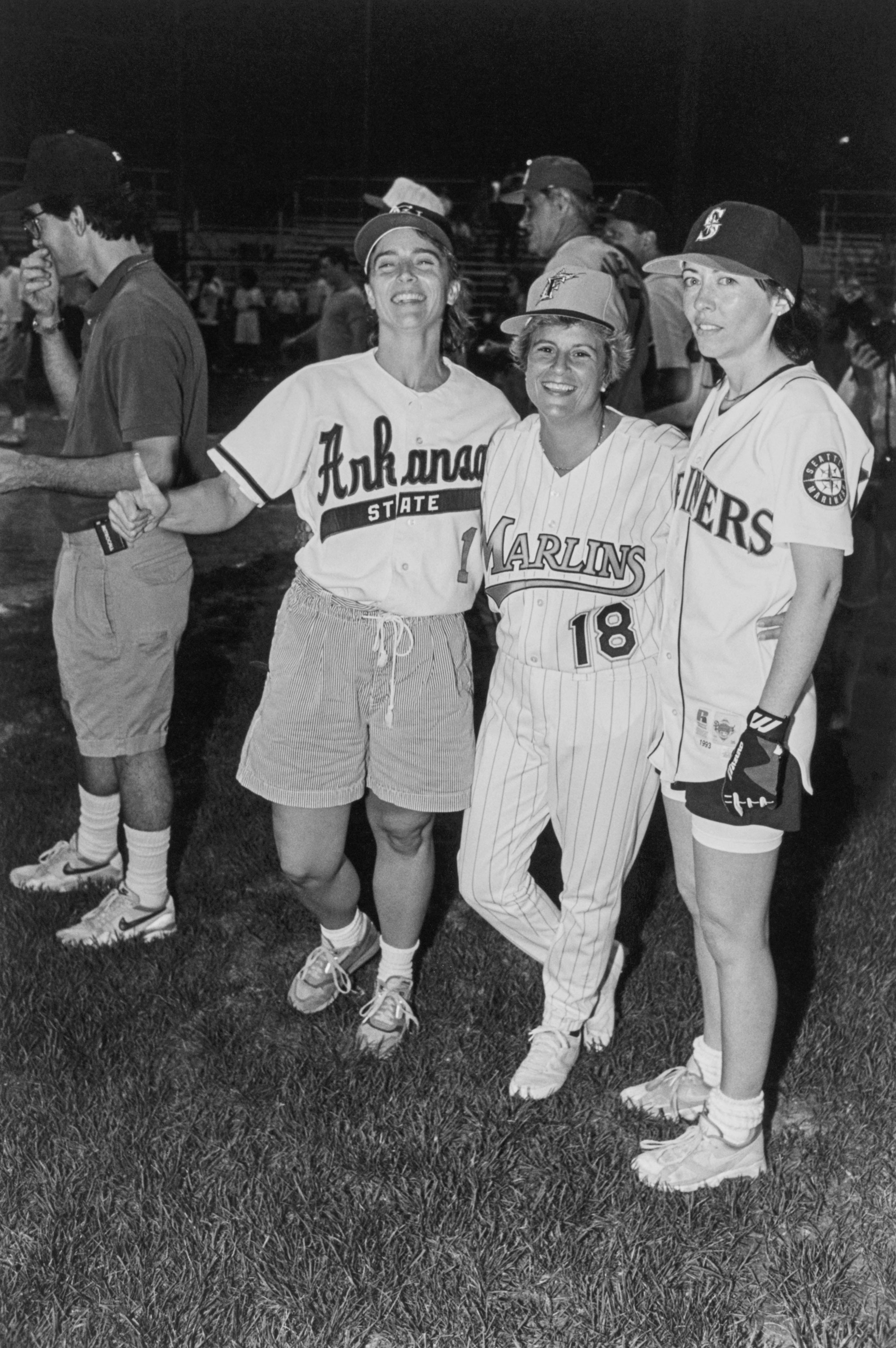 From left, Blanche Lambert Lincoln, Ileana Ros-Lehtinen and Maria Cantwell broke the gender barrier at the Congressional Baseball Game in 1993. (Chris Martin/CQ Roll Call file photo)