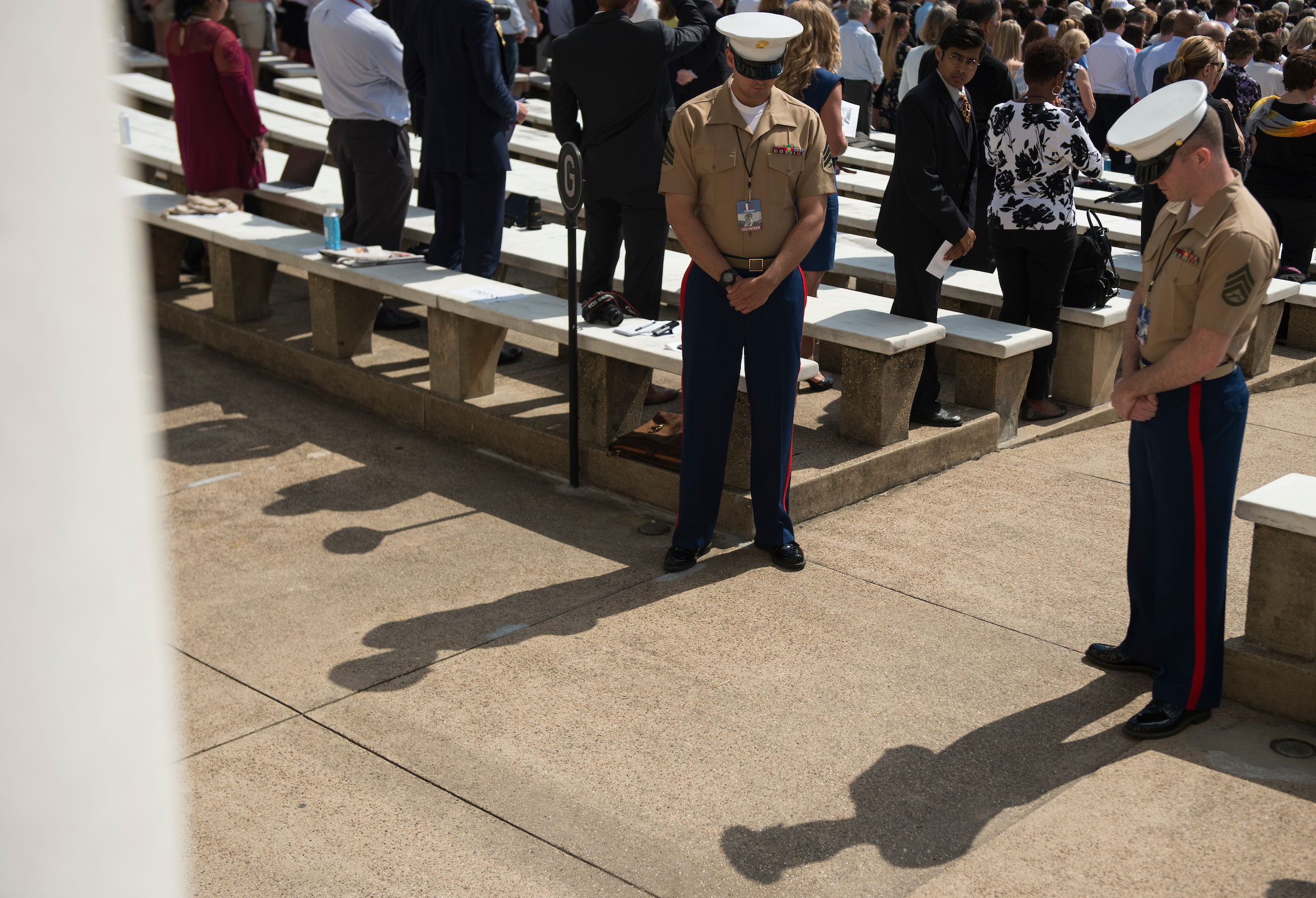 UNITED STATES - June 6: People bow their head in prayer before the Robert Francis Kennedy Memorial Service at Arlington National Cemetery held on the 50th anniversary of his assassination Wednesday June 6, 2018. (Photo By Sarah Silbiger/CQ Roll Call)