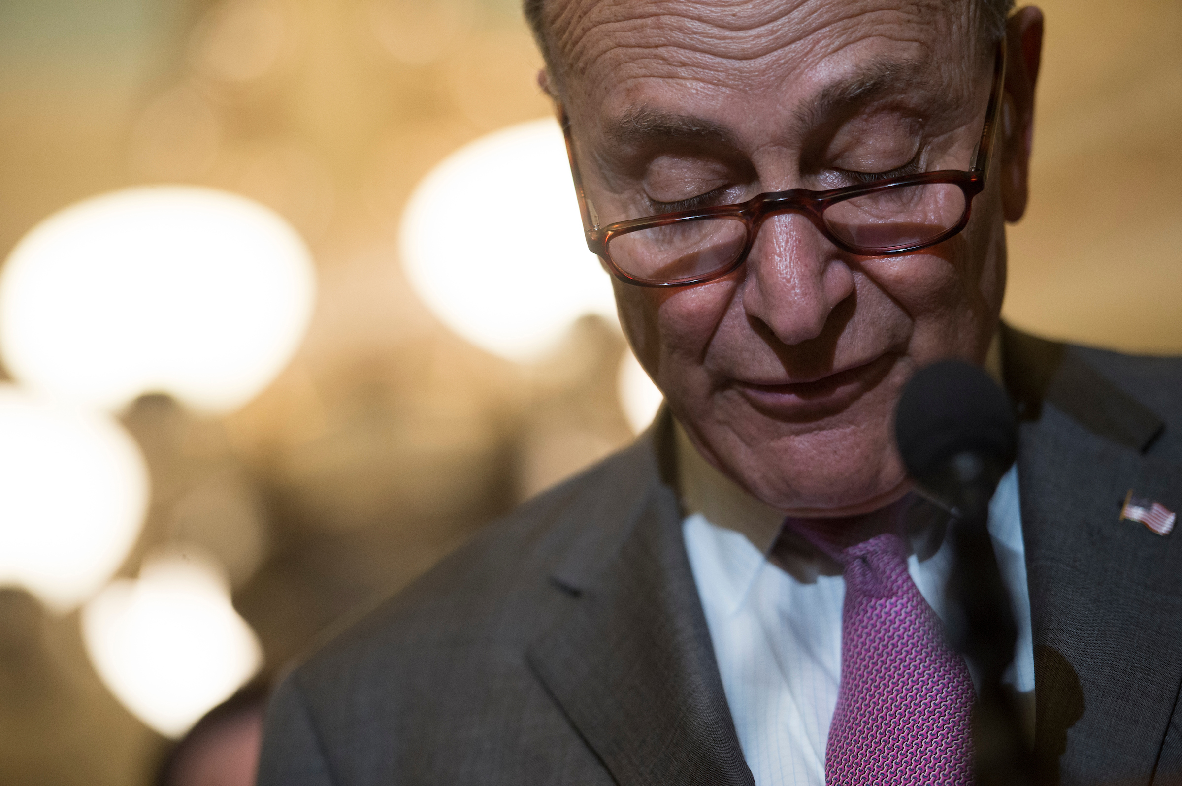 Senate Minority Leader Charles Schumer, D-N.Y., speaks to the press after the Senate Democratic Policy luncheon in the Capitol. (Sarah Silbiger/CQ Roll Call File Photo)