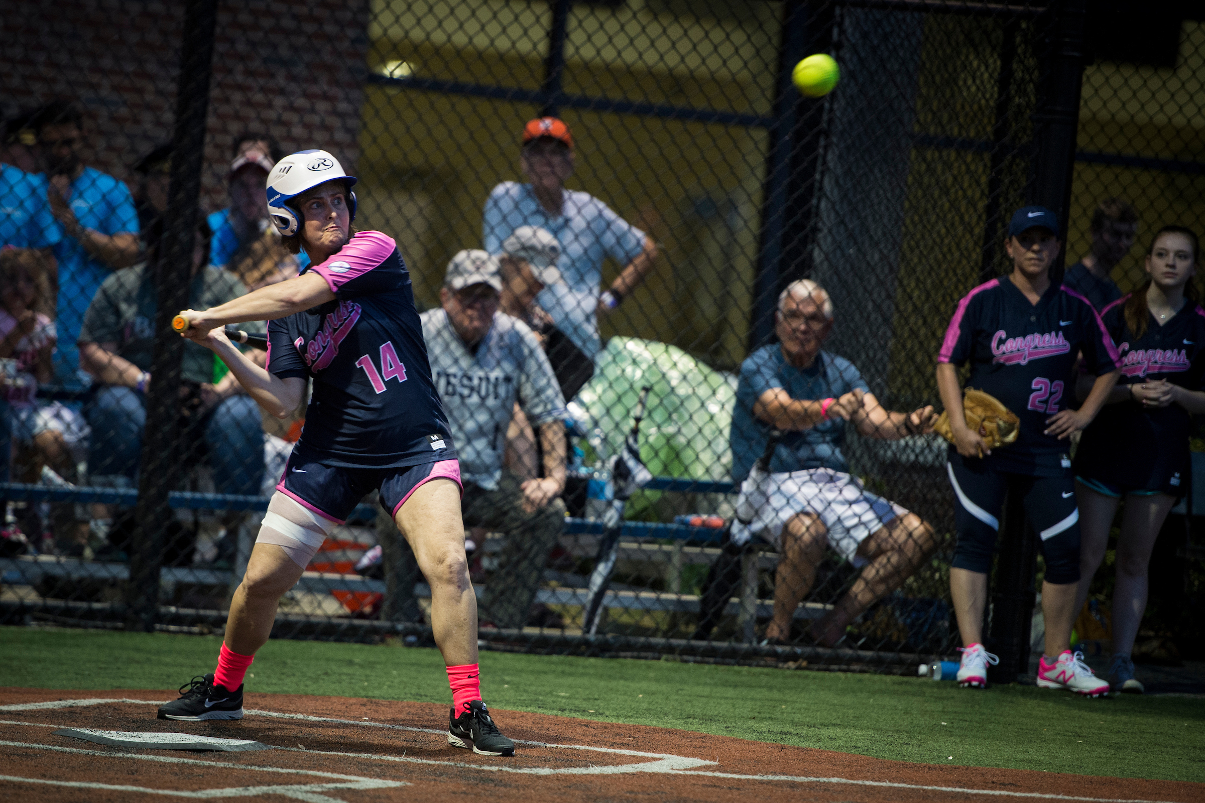 Rep. Kathy Castor, D-Fla., steps up to bat at the The Congressional Women's Softball Game where members of the press take on members of Congress to raise money for breast cancer. This year's game was played at the Watkins Recreation Center in Capitol Hill Wednesday June 20, 2018. (Photo By Sarah Silbiger/CQ Roll Call)