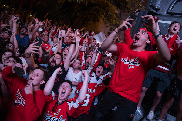 Caps fans celebrate on G Street NW as the Washington Capitals defeat the Vegas Knights 4-3 to capture the team's first Stanley Cup on June 7, 2018. (Photo By Tom Williams/CQ Roll Call)
