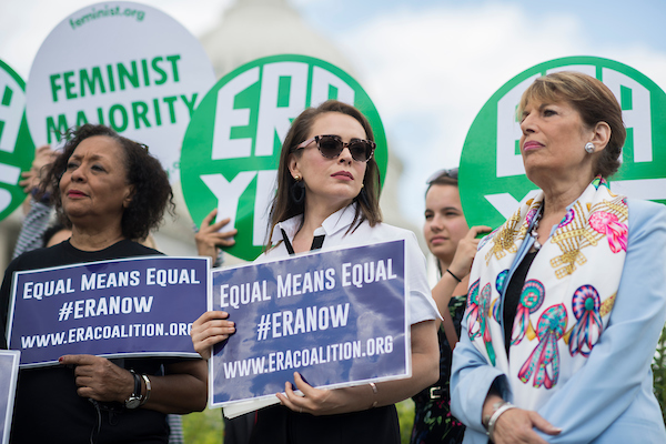 UNITED STATES - JUNE 6: From left, Carol Jenkins, of the Equal Rights Amendment Task Force, actress Alyssa Milano, and Rep. Jackie Speier, D-Calif., attend a news conference at the House Triangle on the need to ratify the Equal Rights Amendment on June 6, 2018. (Photo By Tom Williams/CQ Roll Call)