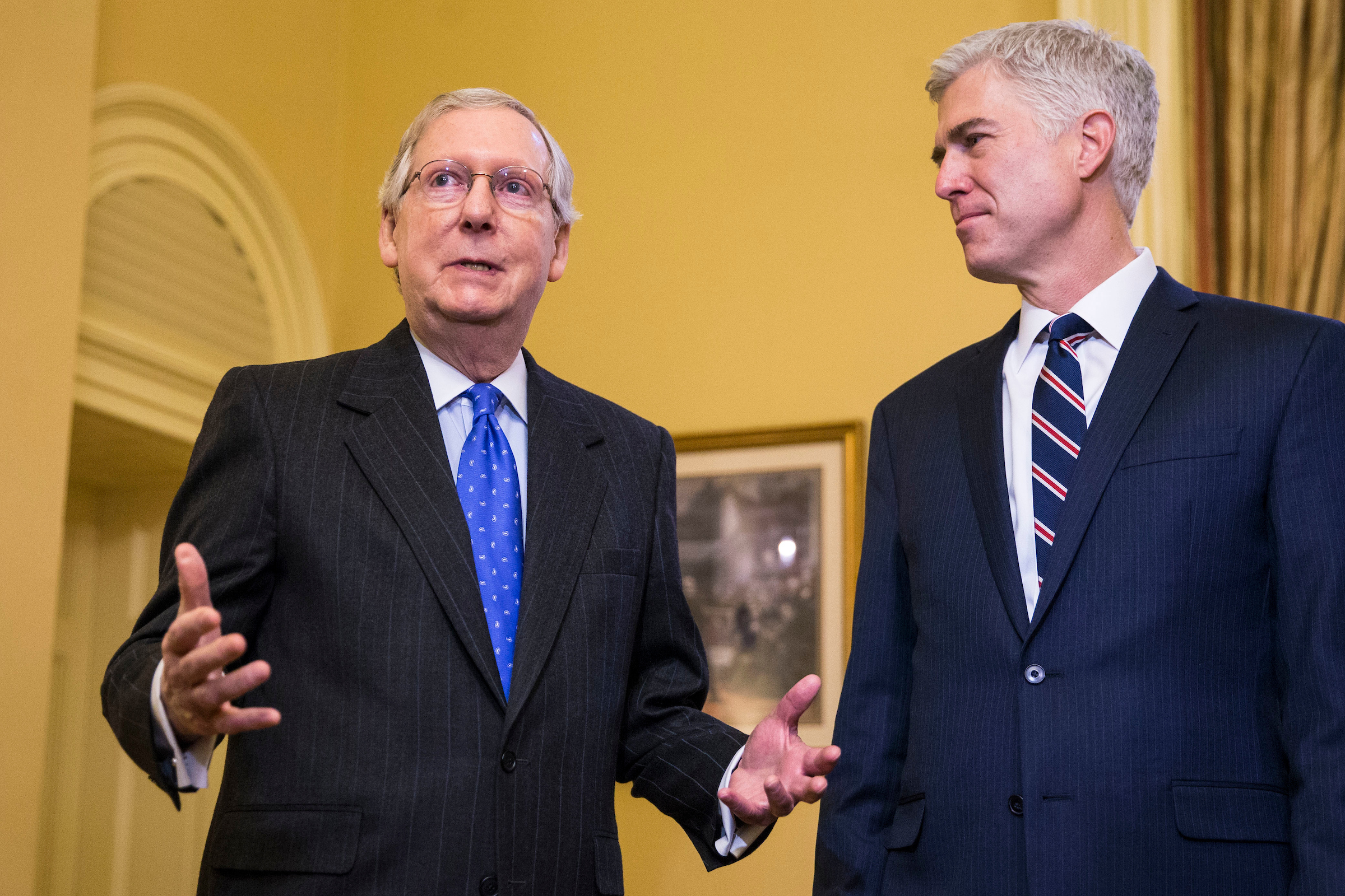 Senate Majority Leader Mitch McConnell of Kentucky, speaks alongside Supreme Court Nominee Judge Neil Gorsuch, on Capitol Hill, in Washington, Feb. 1, 2017. (Al Drago/Pool/The New York Times)
