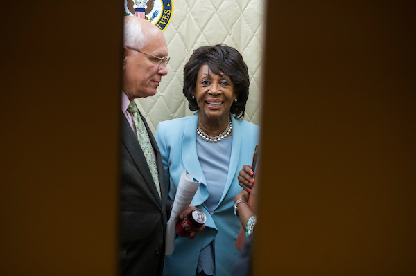 Reps. Paul Tonko, D-N.Y., and Maxine Waters, D-Calif., are seen after a meeting of the of House Democratic Conference in the Capitol on June 26, 2018. (Photo By Tom Williams/CQ Roll Call)