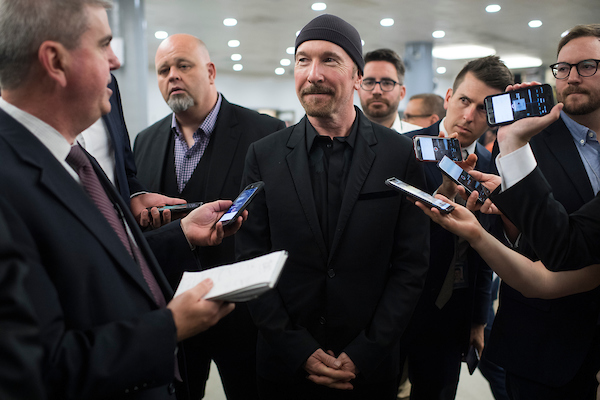 UNITED STATES - JUNE 19: The Edge of U2 is interviewed the Capitol's Senate subway on June 19, 2018. (Photo By Tom Williams/CQ Roll Call)