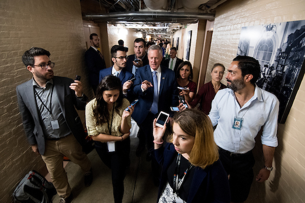 Rep. Mark Meadows, R-N.C., speaks with reporters as he leaves the House Republicans' caucus meeting in the Capitol on immigration reforms on Thursday morning, June 7, 2018. (Photo By Bill Clark/CQ Roll Call)