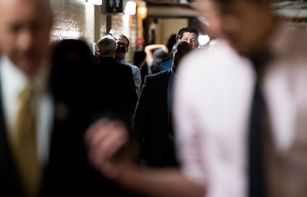 UNITED STATES - JUNE 20: Speaker of the House Paul Ryan, R-Wisc., leaves the House Republican Conference meeting in the basement of the Capitol on Wednesday, June 20, 2018. (Photo By Bill Clark/CQ Roll Call)