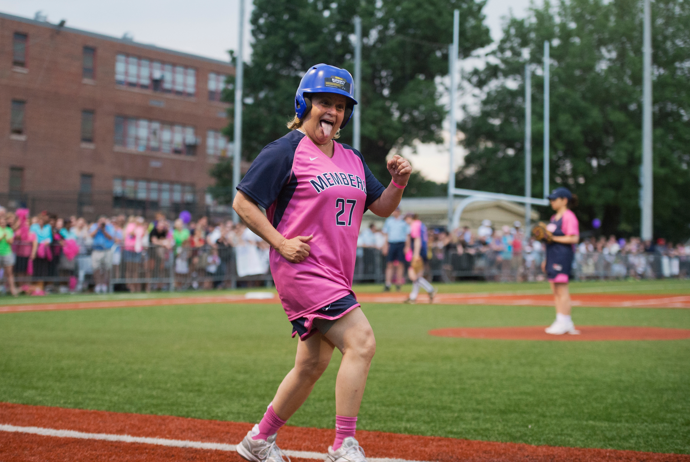 UNITED STATES - JUNE 26: Rep. Ileana Ros-Lehtinen, R-Fla., plays in the Congressional Women's Softball game that pits Congresswomen against female journalists at Watkins Recreation Center on Capitol Hill. The reporters prevailed in a 11-8 victory. The game benefits the Young Survival Coalition that helps young women with breast cancer. (Photo By Tom Williams/CQ Roll Call)