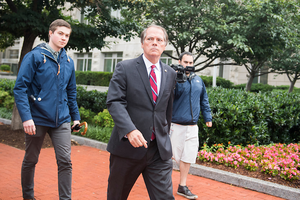 UNITED STATES - JUNE 11: James Wolfe, a former Senate Intelligence Committee aide, leaves the FBI's Washington Field Office after being booked on June 11, 2018. He is accused lying to federal agents about contact with reporters. (Photo By Tom Williams/CQ Roll Call)