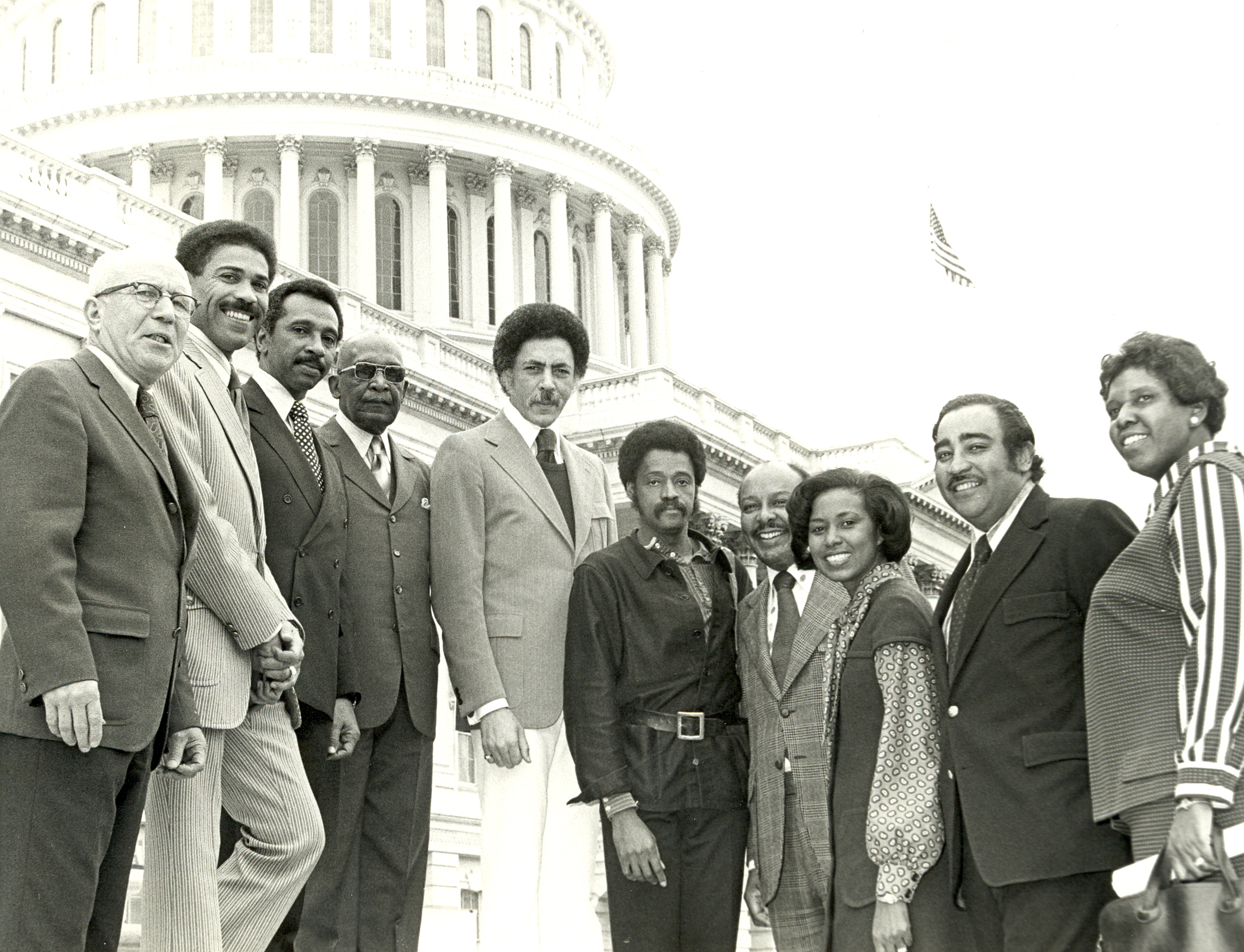 UNITED STATES: File photo - Congressional Black Caucus Members with Actor Melvin Van Peebles outside the U.S. Capitol. Left to Right: Rep. Augustus Hawkins (D-Calif.); Rep. William Clay, Sr. (D-Mo.); Rep. Parren Mitchell (D-Md.); Rep. Robert Nix, Sr. (D-Pa.); Rep. Ronald Dellums (D-Calif.); Melvin Van Peebles; Rep. Louis Stokes (D-Ohio); Rep. Yvonne B. Burke (D-Calif.); Rep. Charles Rangel (D-N.Y.); and Rep. Barbara Jordan (D-Texas) (Photo courtesy of the Moorland-Springarn Research Center, Howard University).