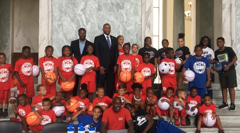 D.C. kids, and Rep. Marc Veasey, were also invited to play at the Youth Sports Expo. (Courtesy of Active Policy Solutions)