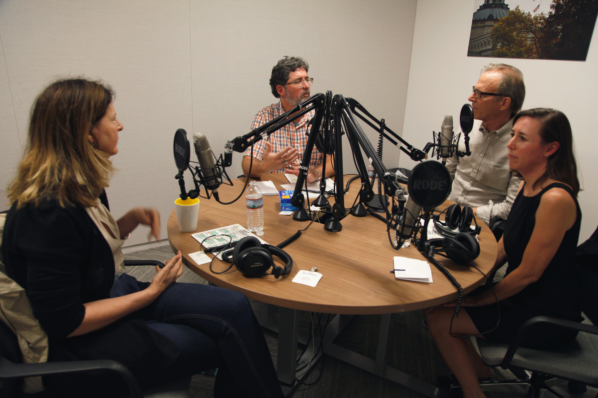 Director Kirby Dick and producer Amy Ziering participate in a podcast recording at the offices of CQ Roll Call.