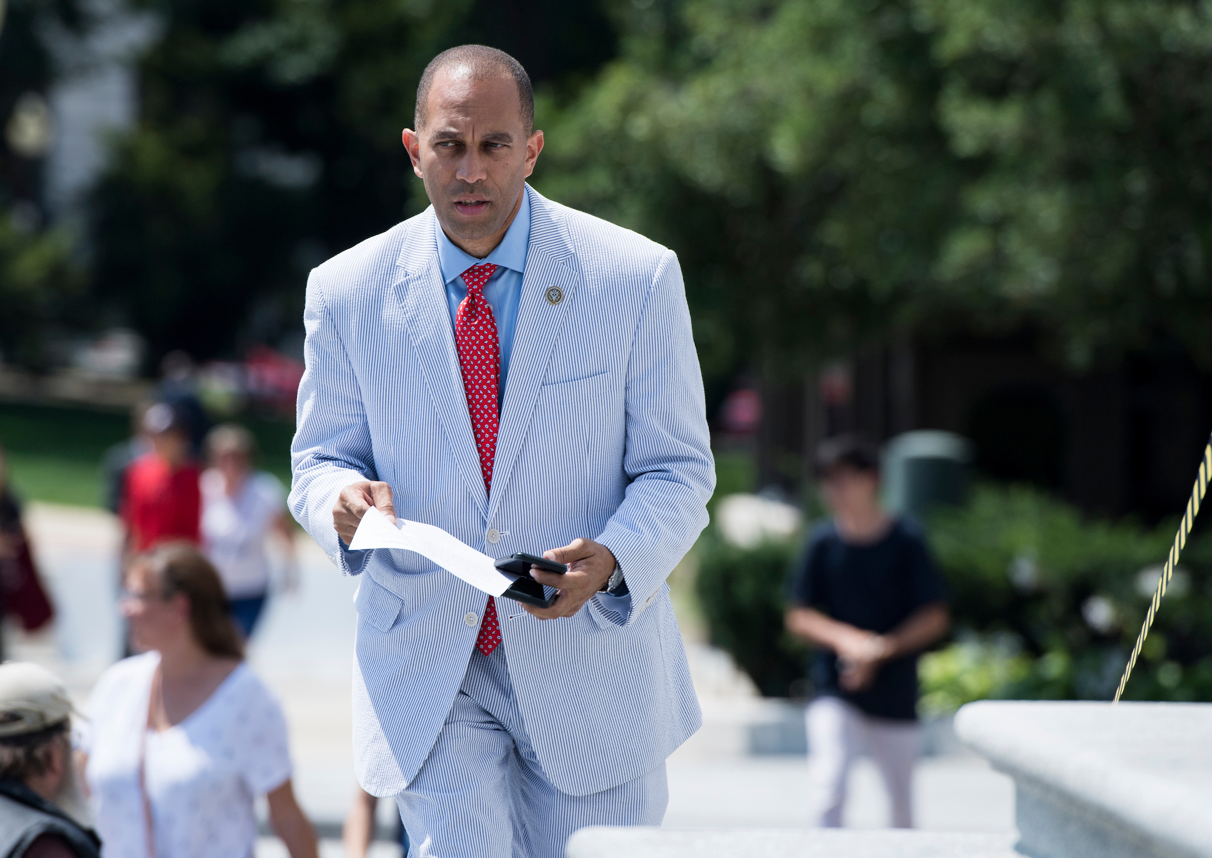 UNITED STATES - JULY 26: Rep. Hakeem Jeffries, D-N.Y., walks up the House steps for a vote in the Capitol on Thursday, July 26, 2018. (Photo By Bill Clark/CQ Roll Call)