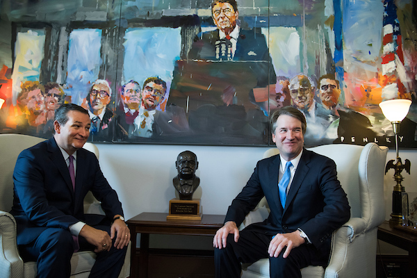 UNITED STATES - JULY 17: Supreme Court nominee Brett Kavanaugh, right, and Sen. Ted Cruz, R-Texas, conduct a photo-op in Russell Building before a meeting on July 17, 2018. (Photo By Tom Williams/CQ Roll Call)