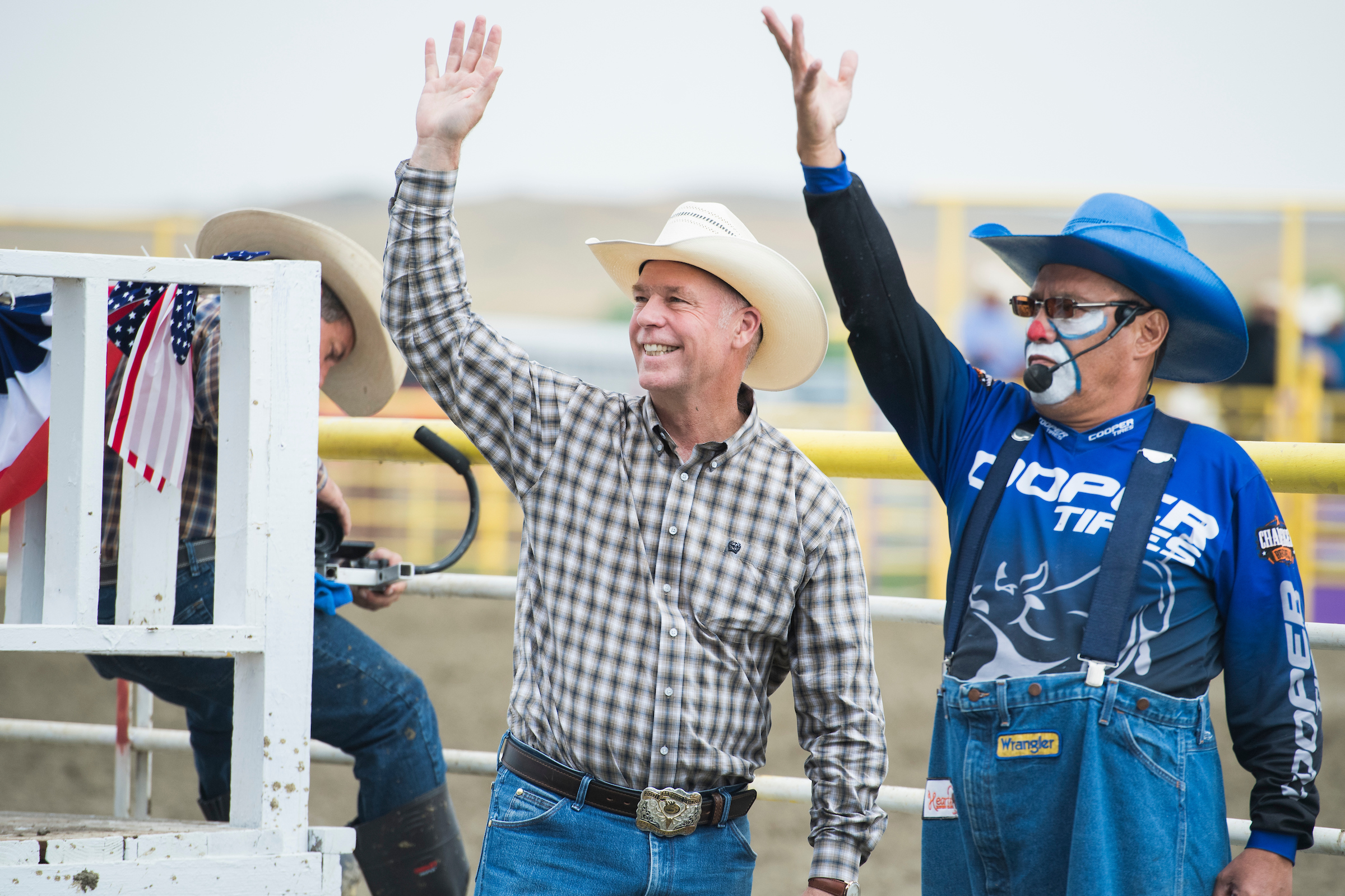UNITED STATES - AUGUST 18: Rep. Greg Gianforte, R-Mont., waves to constituents at the Crow Fair in Crow Agency, Mont., on August 18, 2018. Gianforte is being challenged by Democrat Kathleen Williams. (Photo By Tom Williams/CQ Roll Call)