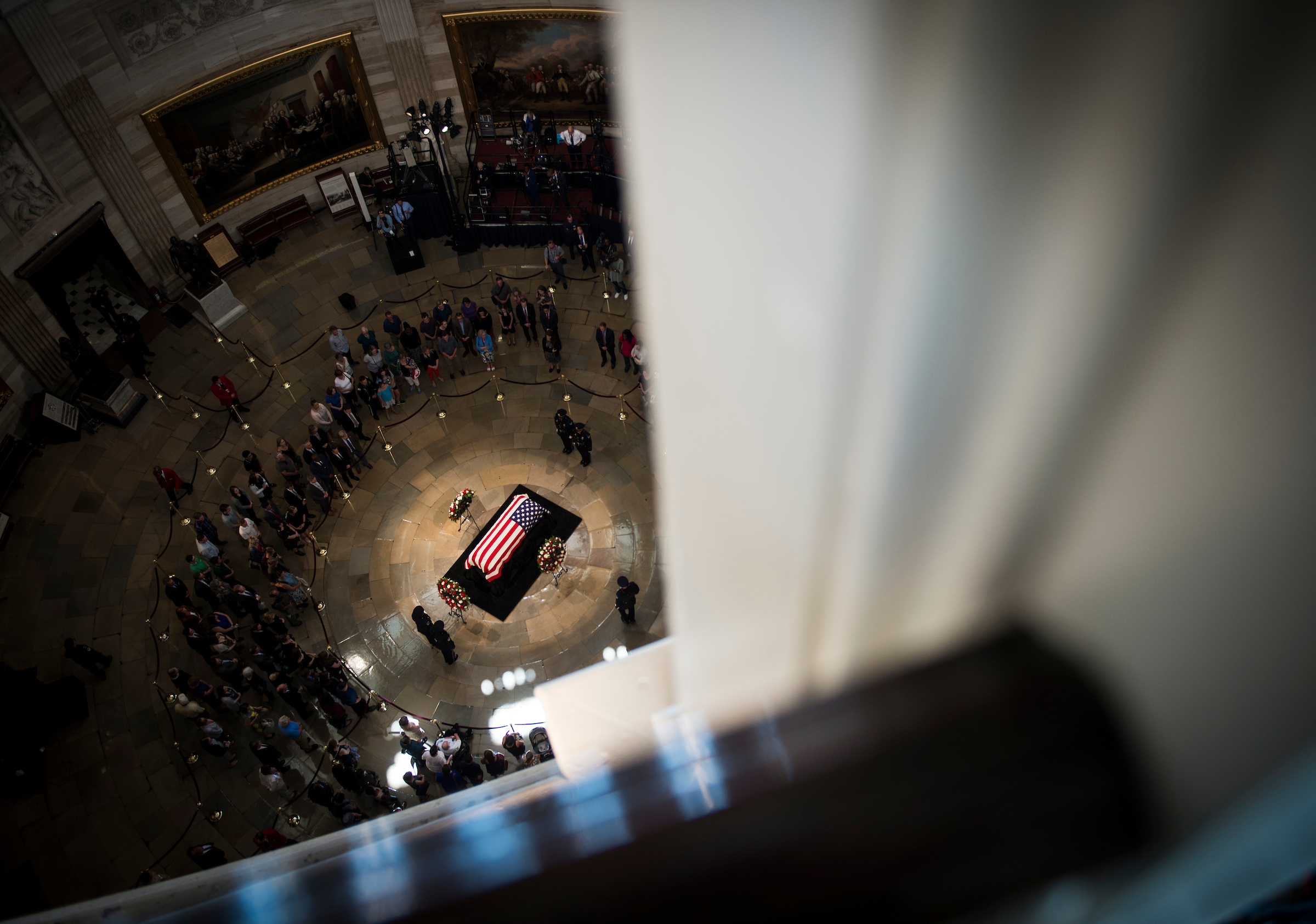 UNITED STATES – AUGUST 31: The casket of Sen. John McCain, R-Ariz., lies in state in the Capitol Rotunda Friday August 31, 2018. (Photo By Sarah Silbiger/CQ Roll Call)