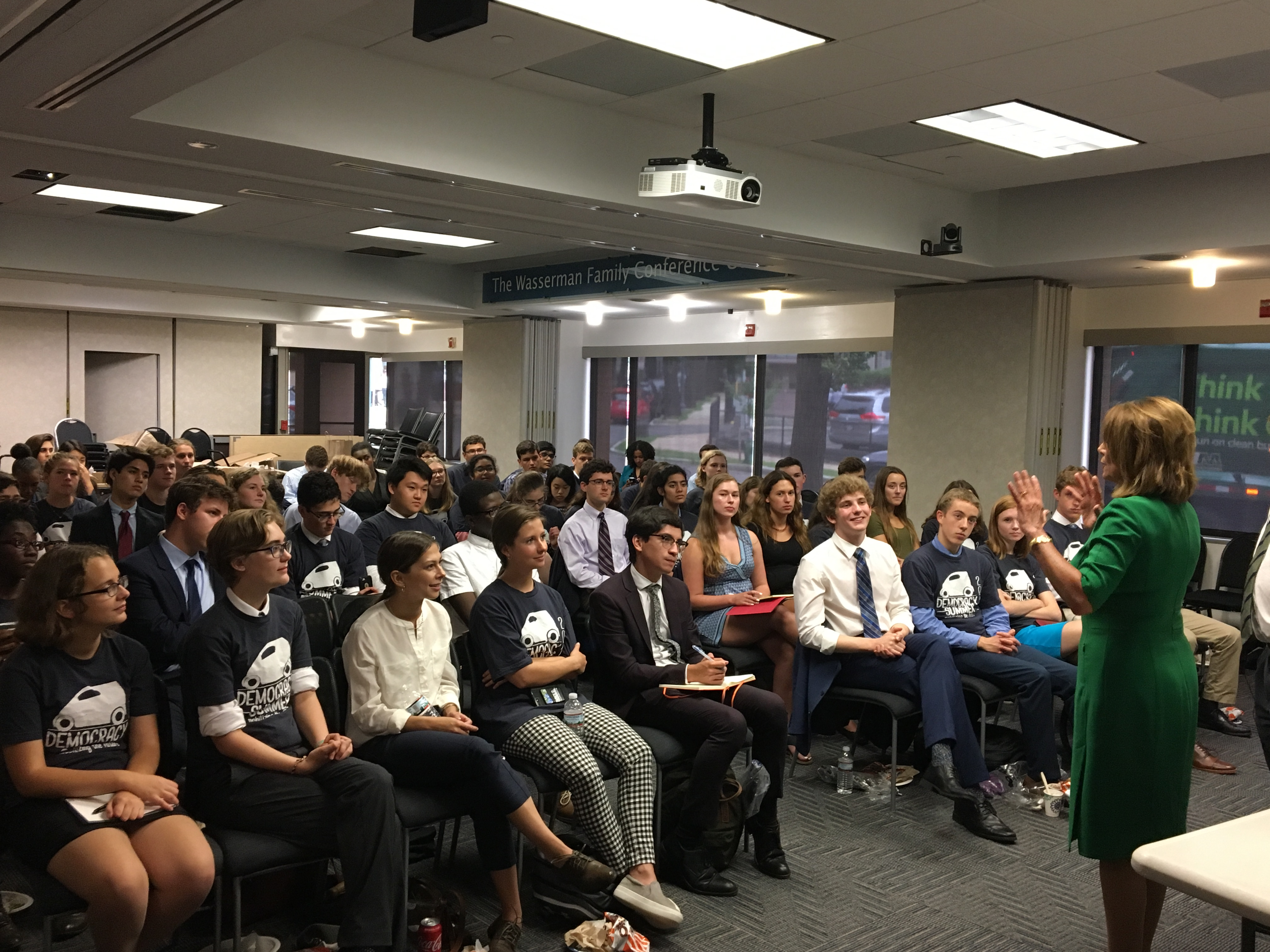 Majority Leader Nancy Pelosi, D-Calif., speaks to Democracy Summer fellows on July 24. (Courtesy of Raskin)