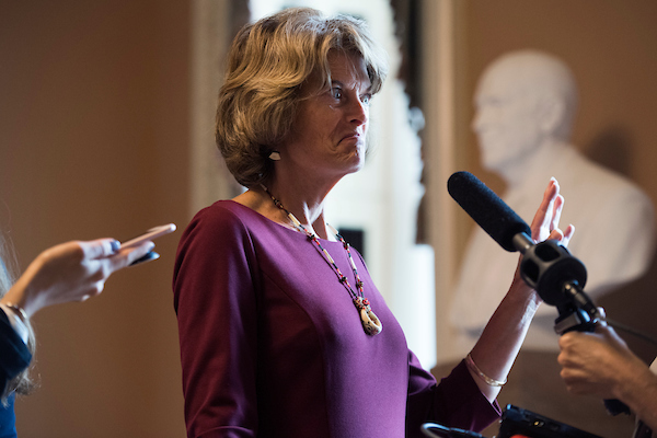 UNITED STATES - JULY 31: Sen. Lisa Murkowski, R-Alaska, talks with reporters after the Senate Policy luncheons in the Capitol on July 31, 2018. (Photo By Tom Williams/CQ Roll Call)