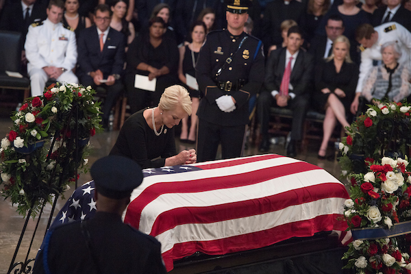 UNITED STATES - AUGUST 31: Cindy McCain pays respects to her late husband Sen. John McCain, R-Ariz., as he lies in state in the Capitol rotunda on August 31, 2018.(Photo By Tom Williams/CQ Roll Call)