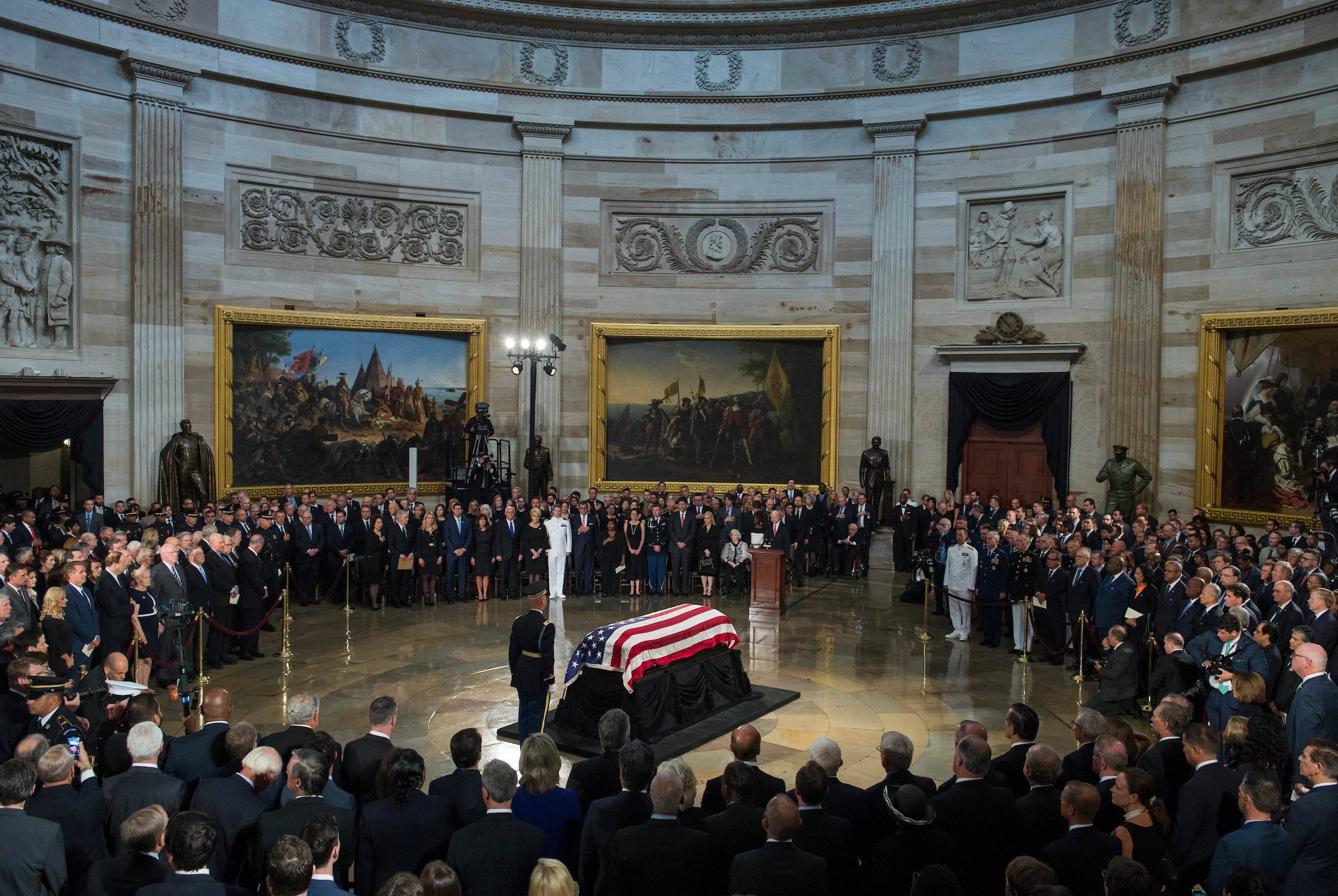 The casket containing the late Sen. John McCain, R-Ariz., lies in state in the Capitol rotunda on August 31, 2018. (Photo By Tom Williams/CQ Roll Call)