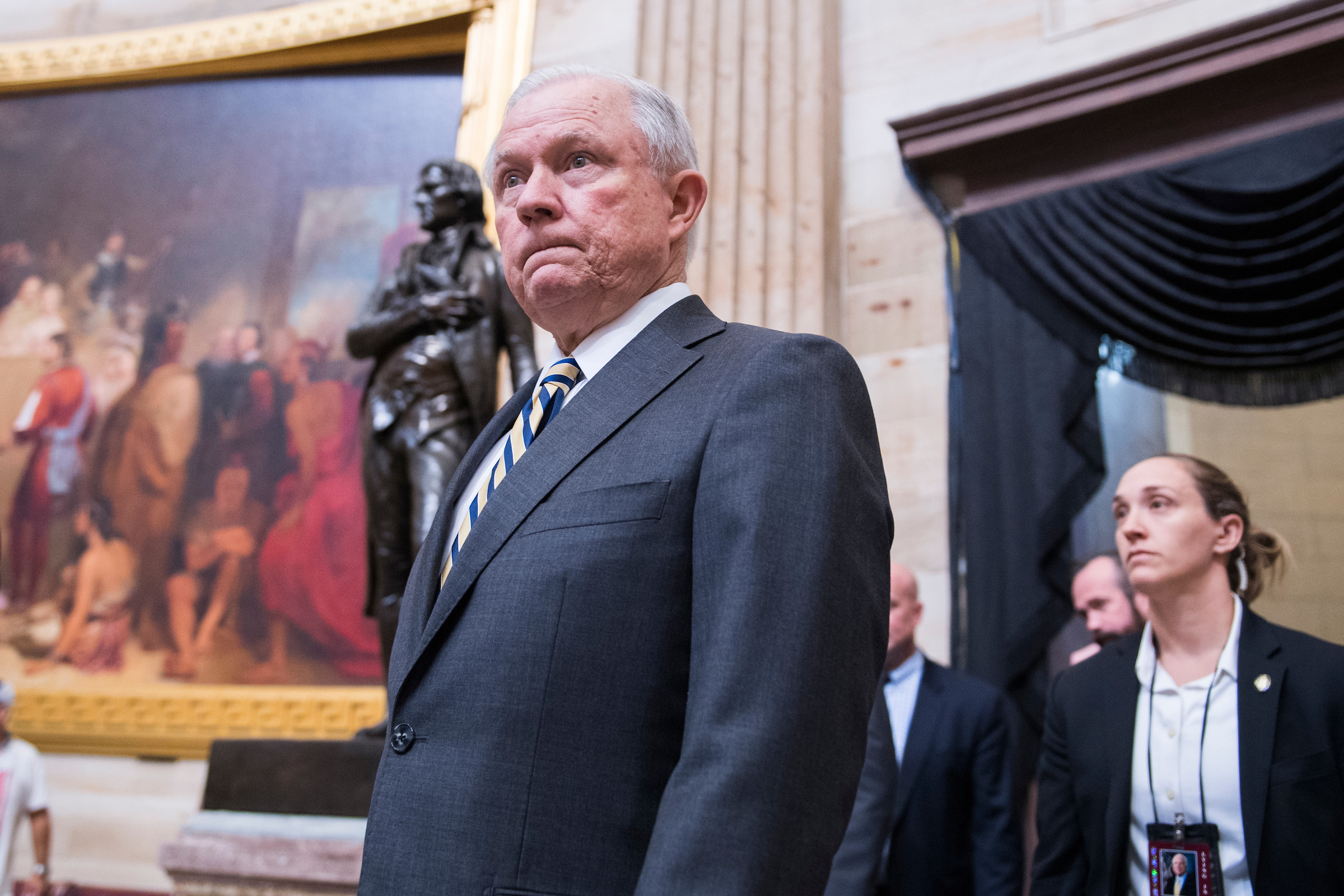 UNITED STATES - AUGUST 31: Attorney General Jeff Sessions pays respects to the late Sen. John McCain, R-Ariz., as the senator lies in state in the Capitol rotunda on August 31, 2018. (Photo By Tom Williams/CQ Roll Call)