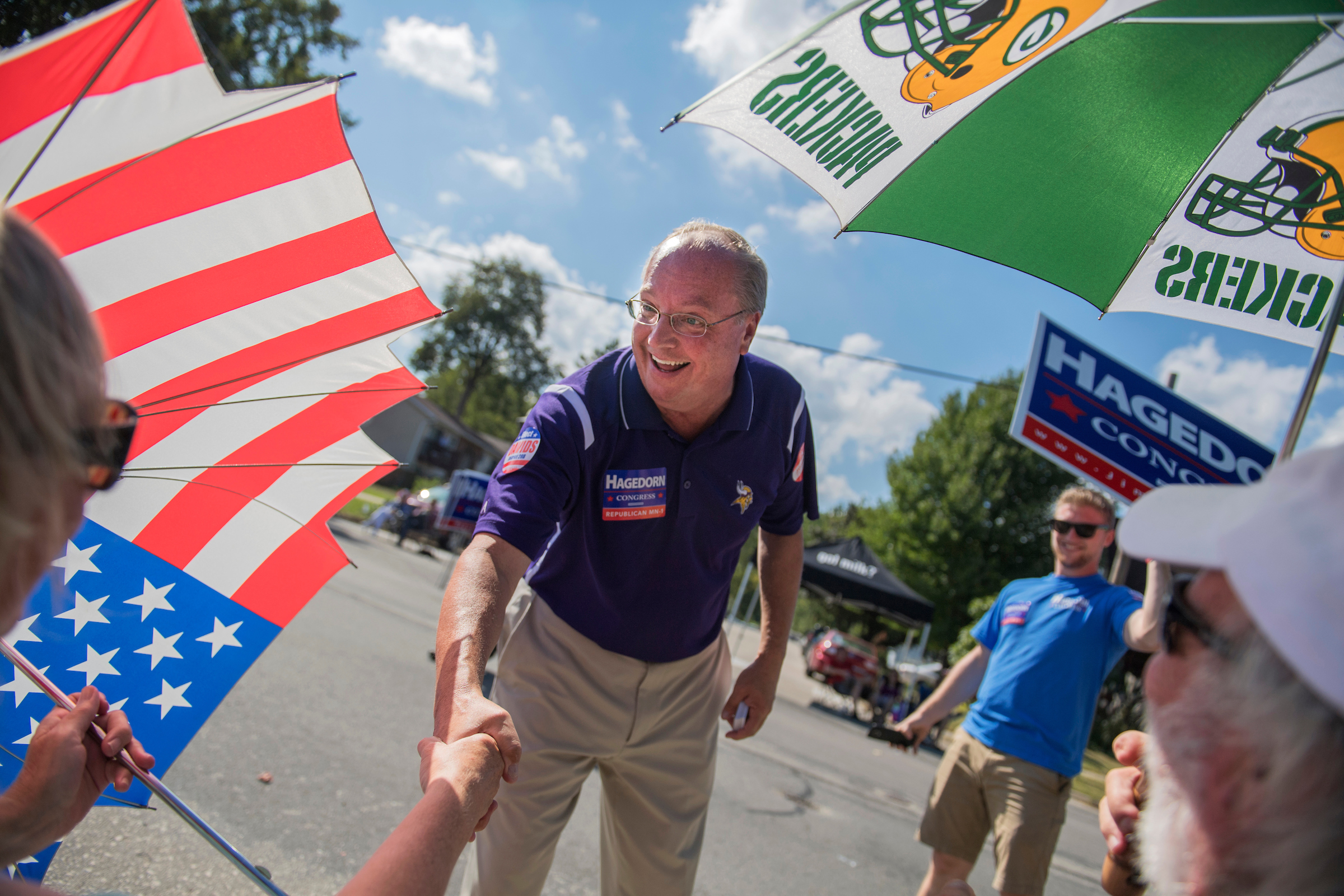 UNITED STATES - SEPTEMBER 16: Jim Hagedorn, Republican candidate for Minnesota's 1st Congressional District, campaigns in the Applefest parade in La Crescent, Minn., on September 16, 2018. (Photo By Tom Williams/CQ Roll Call)