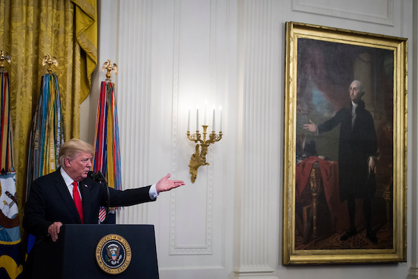 resident Donald J. Trump speaks at the Congressional Medal of Honor Reception in the East Room of the White House on Wednesday, Sept. 12, 2018. (Sarah Silbiger/CQ Roll Call)