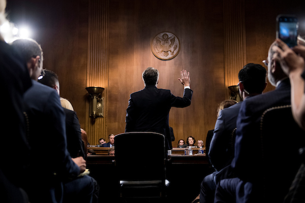 Kavanaugh is sworn in Thursday afternoon. (Tom Williams/CQ Roll Call)