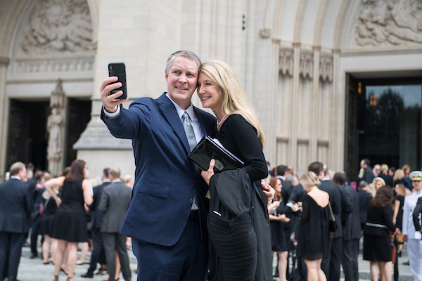 UNITED STATES - SEPTEMBER 1: Former Senate Majority Leader Bill Frist, R-Tenn., and his wife, Tracy, are seen after the funeral of the late Sen. John McCain, R-Ariz., at the Washington National Cathedral on September 1, 2018. (Photo By Tom Williams/CQ Roll Call)