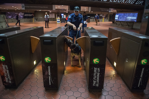 UNITED STATES - SEPTEMBER 11: A Metro Transit Police Department officer and a K-9 dog conduct a security sweep at the Pentagon Metro stop on September 11, 2018. (Photo By Tom Williams/CQ Roll Call)