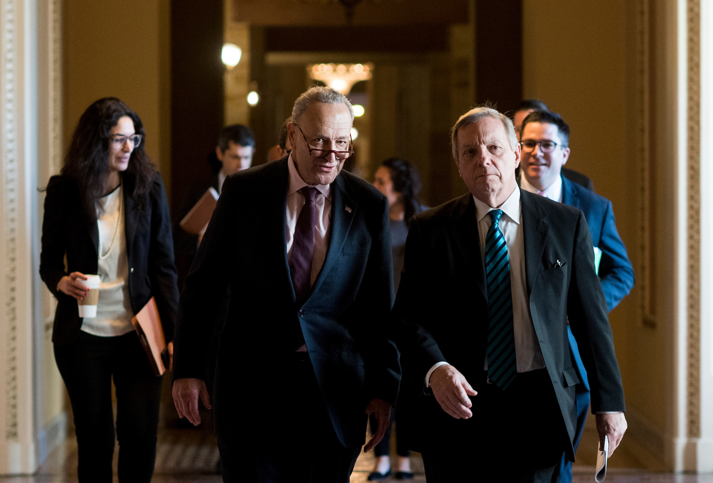 UNITED STATES - DECEMBER 1: Senate Minority Leader Chuck Schumer, D-N.Y., and Sen. Richard Durbin, D-Ill., talk as they walk through the Capitol before a procedural vote on tax reform in the Capitol on Friday, Dec. 1, 2017. (Photo By Bill Clark/CQ Roll Call)