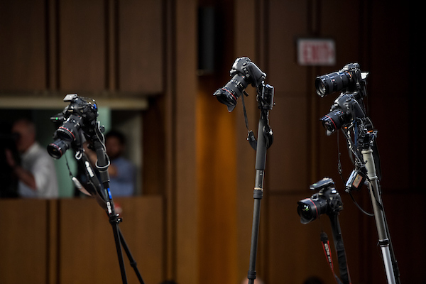 UNITED STATES - SEPTEMBER 4: Photographers use monopods to get an overhead view as Brett Kavanaugh arrives for his Senate Judiciary Committee confirmation hearing to be Associate Justice of the Supreme Court on Tuesday morning, Sept. 4, 2018. (Photo By Bill Clark/CQ Roll Call)