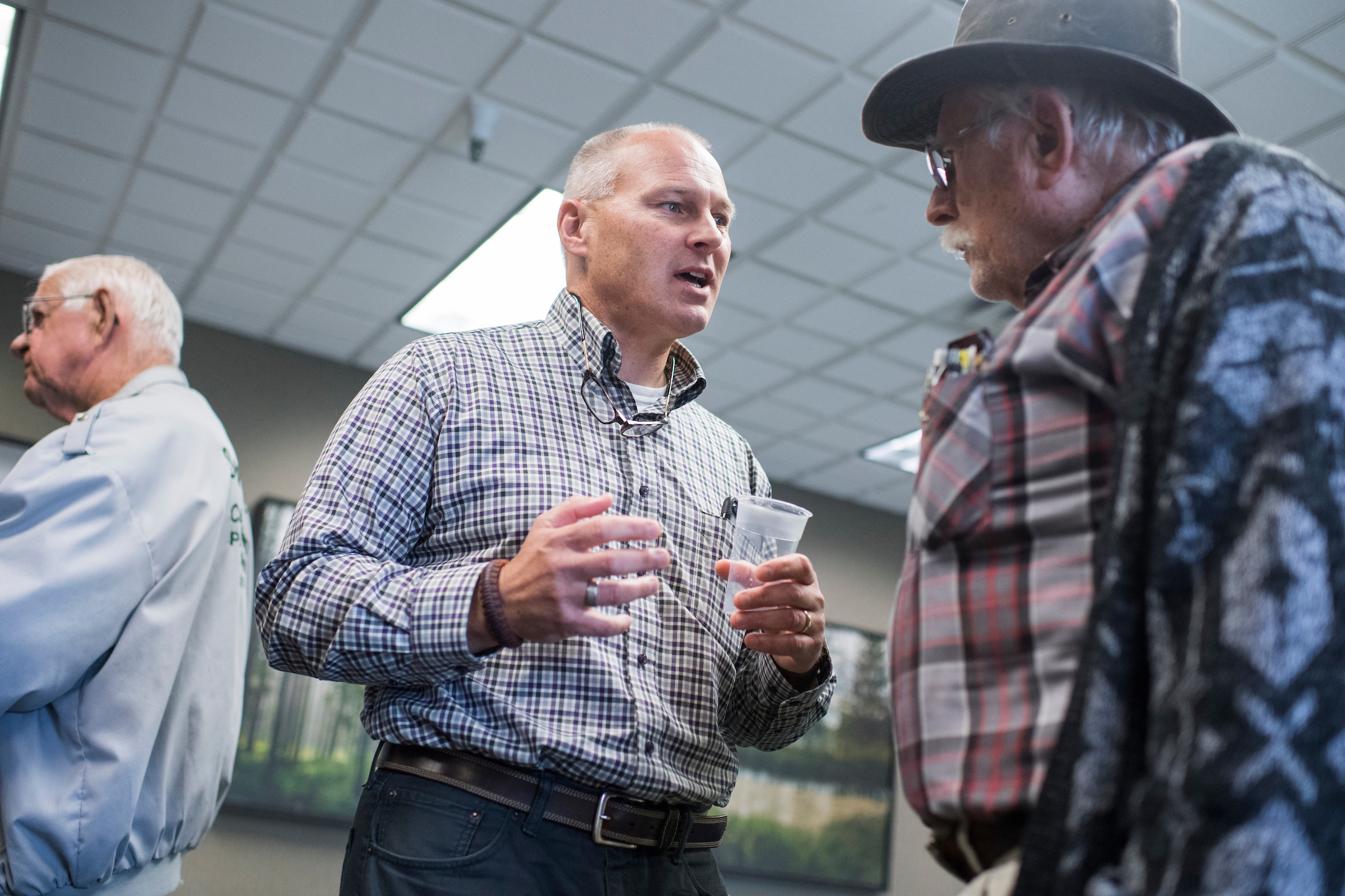 UNITED STATES - SEPTEMBER 18: Pete Stauber, Republican candidate for Minnesota's 8th Congressional District, talks with guests during a meet and greet with local GOP politicians in Park Rapids, Minn., on September 18, 2018. (Photo By Tom Williams/CQ Roll Call)