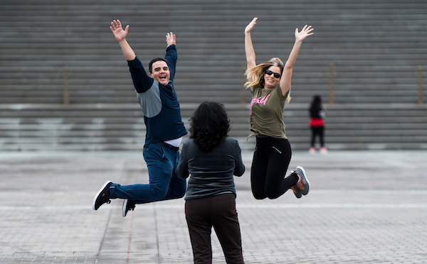 UNITED STATES - SEPTEMBER 10: Tourists jump in the air on the East Plaza for a photo in fronbt of the U.S. Capitol on Monday, Sept. 10, 2018. (Photo By Bill Clark/CQ Roll Call)