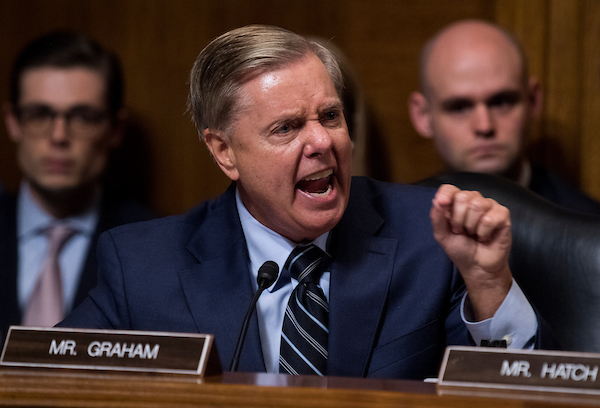 UNITED STATES- SEPTEMBER 27 Sen. Lindsey Graham R-S.C. points at the Democrats as he defends Judge Brett Kavanaugh during the Senate Judiciary Committee hearing on his nomination be an associate justice of the Supreme Court of the United States focus