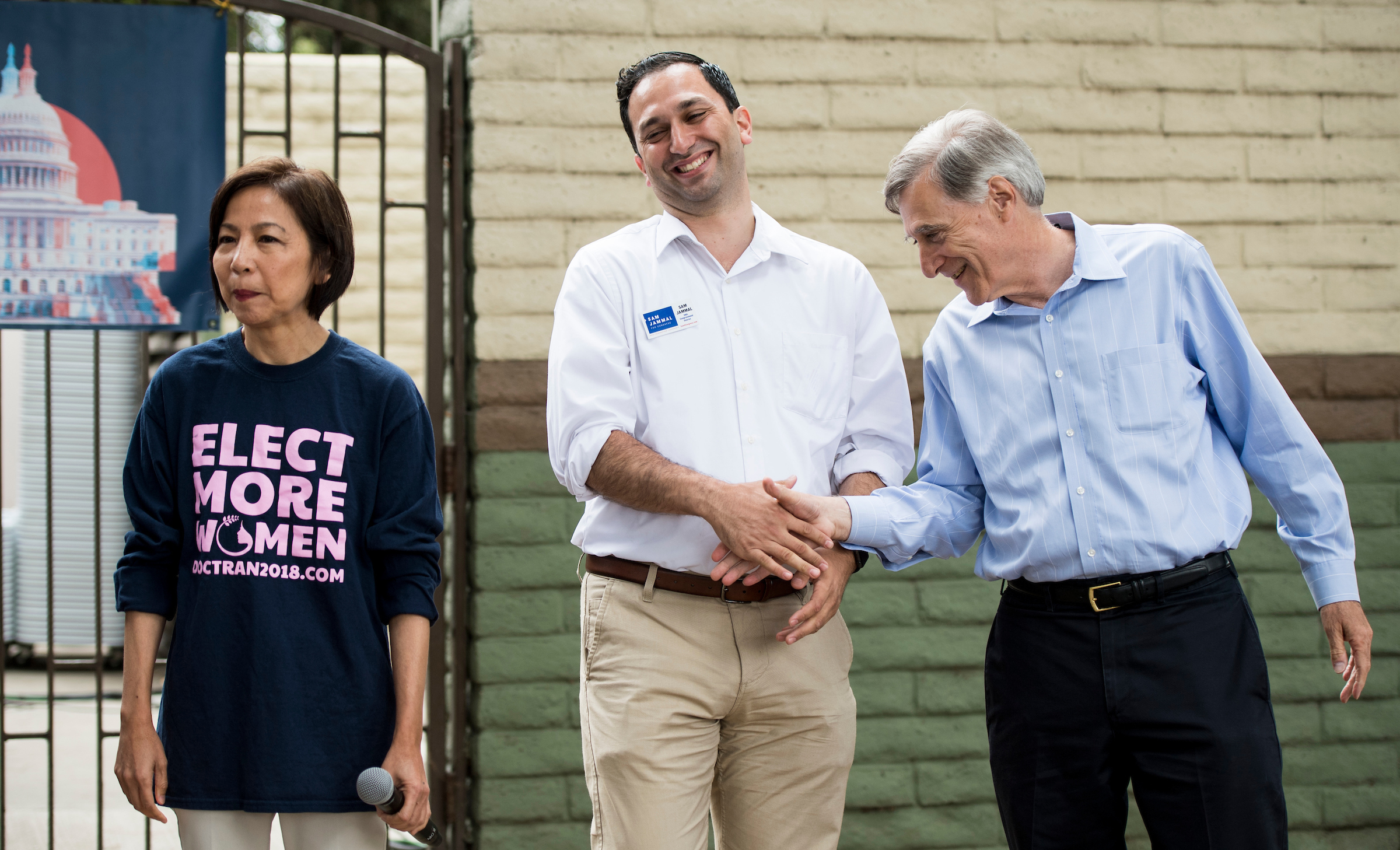 UNITED STATES - MAY 19: Democrats running for the California 39th Congressional district, from left, Mai-Khanh Tran, Sam Jammal and Andy Thorburn, speak to voters during a rally held by Swing Left at Carolyn Rosa Park in Rowland Heights, Calif., on Saturday, May 19, 2018. California is holding its primary election on June 5, 2018. (Photo By Bill Clark/CQ Roll Call)