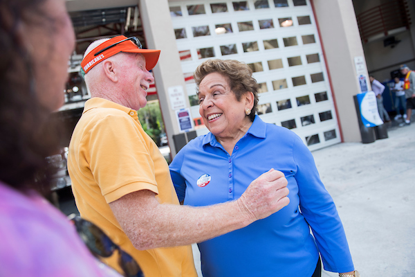 UNITED STATES - NOVEMBER 3: Donna Shalala, Democratic candidate for Florida's 27th Congressional District, talks with voters on Election Day after voting at Coral Gables Fire Station 3 on November 6, 2018. (Photo By Tom Williams/CQ Roll Call)