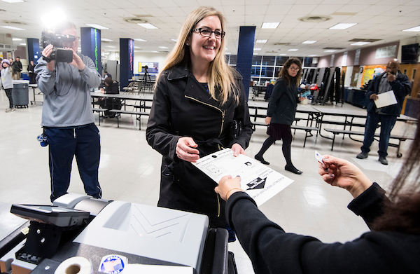 Jennifer Wexton, Democratic candidate for Virginia's 10th district, casts her ballot at Loudoun County High School in Leesburg, Va., on election day, Nov. 6, 2018. (Photo By Bill Clark/CQ Roll Call)