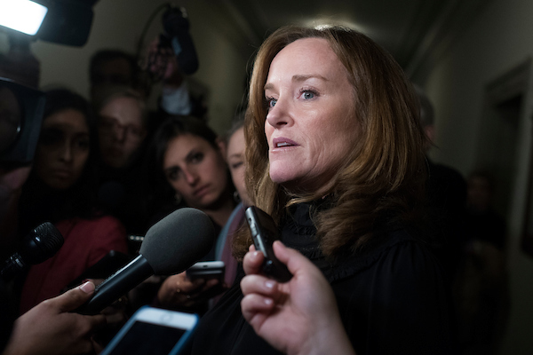 UNITED STATES - NOVEMBER 28: Rep. Kathleen Rice, R-N.Y., talks with reporters outside the House Democrats' leadership elections in Longworth Building on November 28, 2018. (Photo By Tom Williams/CQ Roll Call)