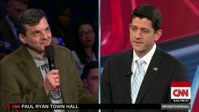 Jeff Jeans became an unlikely celebrity when the former Republican voter shared that the coverage he secured through the 2010 health law saved his life with House Speaker Paul Ryan during a CNN town hall. (Courtesy of CNN)