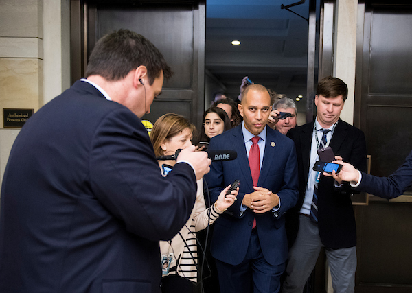 Rep. Hakeem Jeffries, D-N.Y., leaves the CVC Auditorium after narrowly winning an intraparty contest for House Democratic Caucus chair against Rep. Barbara Lee, D-Calif., during the House Democrats' organizational caucus meeting on Wednesday, Nov. 28, 2018. (Bill Clark/CQ Roll Call)