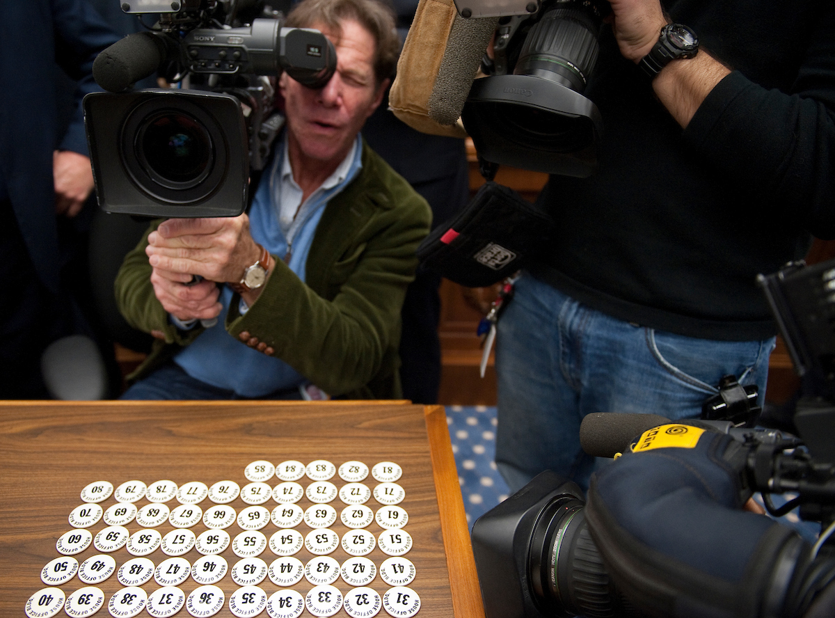 The lottery chips are on display before the start of House office lottery for the newly elected members of Congress. (Photo By Bill Clark/Roll Call)